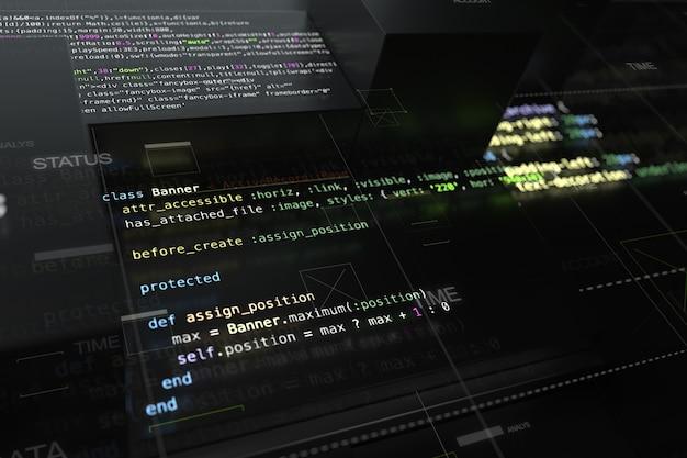 コードラインとランダムに押し出された正方形の3dレンダリングによる抽象的なプログラミングの背景。コードを開発するソフトウェアの断片を含む押し出し反射面。
