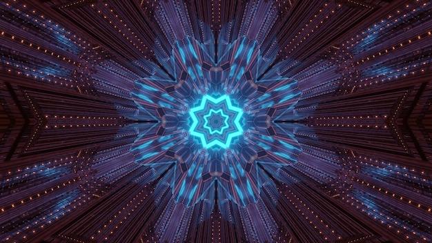 光沢のある青いネオンの幾何学的な星と暗いトンネル内のキラリと光る光線と抽象的なサイケデリックな背景