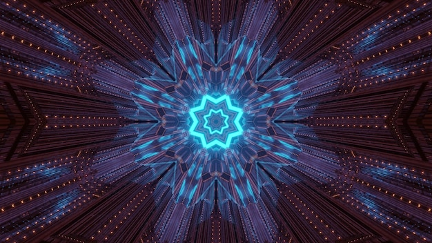 Abstract psychedelic background with shiny blue neon geometric star and gleaming light beams inside of dark tunnel