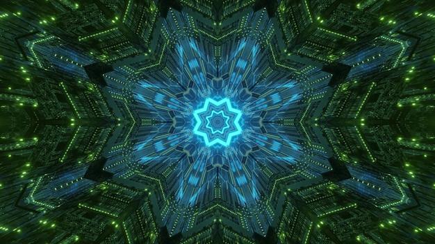 仮想世界のトンネル内の対称的な幾何学的で輝くネオン照明と抽象的なサイケデリック背景