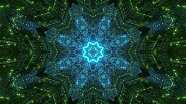 Abstract psychedelic background with symmetrical geometric and glowing neon illumination inside of virtual world tunnel