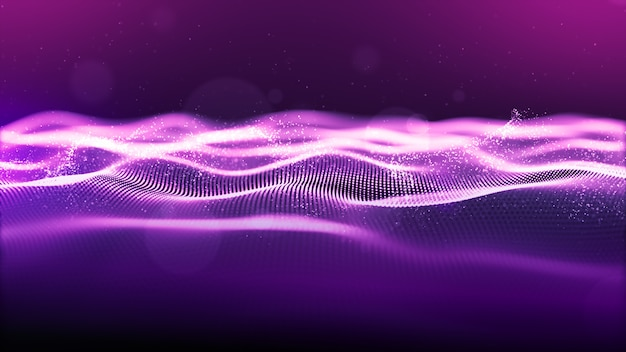 Abstract purple color. digital cyber space particles wave with bokeh and light background