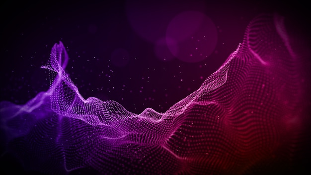 Abstract purple color digital particles wave with bokeh and light background