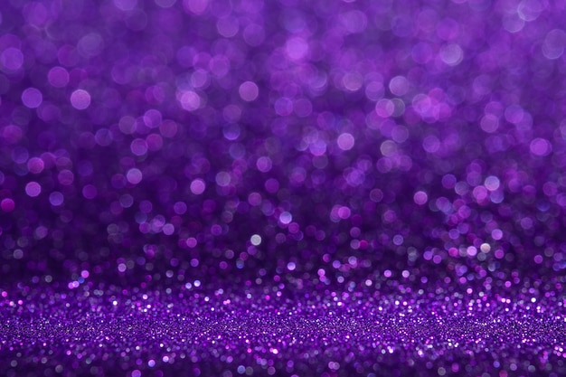 Abstract purple sparkling glitter wall and floor perspective background studio with blur bokeh