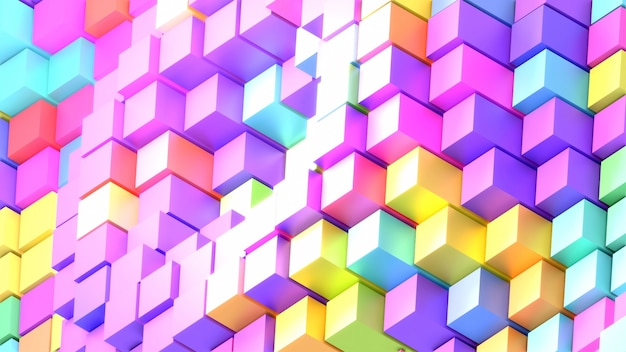 Abstract rainbow cubes with glint effect 3d rendered picture