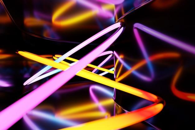 抽象的なレインボーネオン光る交差線パターン