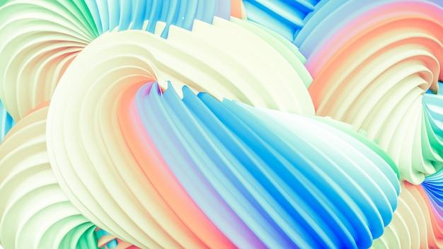 抽象的なレインボーパステル形状。 3dレンダリング。