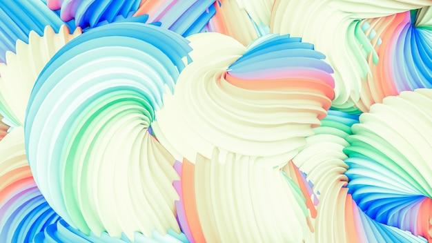 抽象的なレインボーパステル形状の背景。 3dレンダリング。