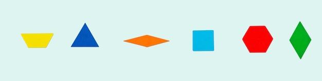 Абстрактные случайные красочные геометрические фигуры - трапеция, треугольник, ромб, кубики, шестиугольник на синем фоне.