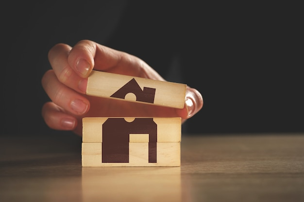 Abstract real estate and home insurance concept.