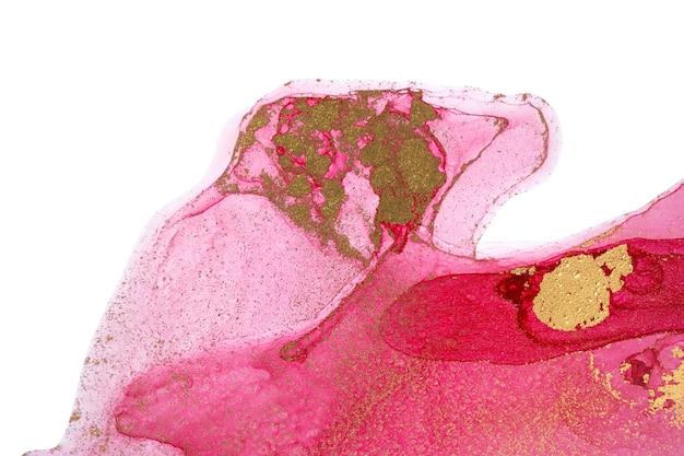 白い背景のピンクとゴールドのアクリルに抽象的な赤い背景