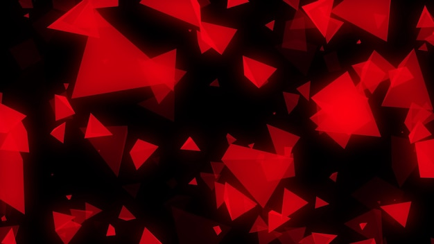 Abstract red background with chaotically flying triangles