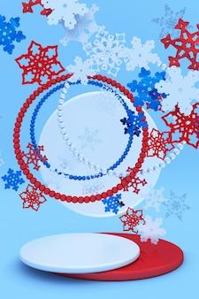 クリスマスの雪片と抽象的な赤青のお祝いの3d表彰台新年の創造的な冬のモックアップ