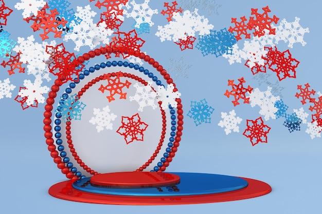 クリスマスの雪と冬の年末年始のモックアップと抽象的な赤青のお祝いの3d表彰台