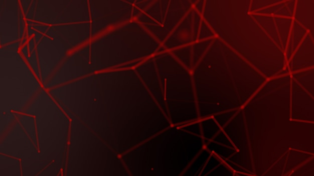 Abstract red blurred geometry wireframe network and connecting dot on black background