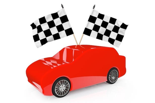 Abstract red car with racing flags on a white background