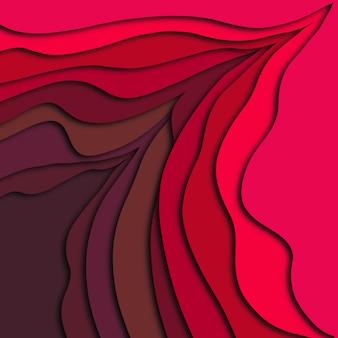 抽象的な赤い色の3dペーパーカット効果の背景