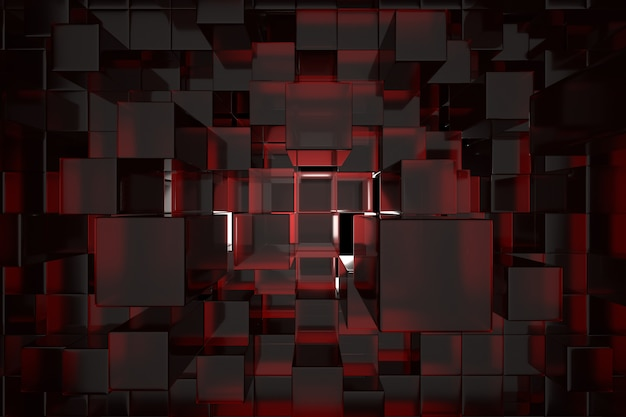 Abstract red cube background.