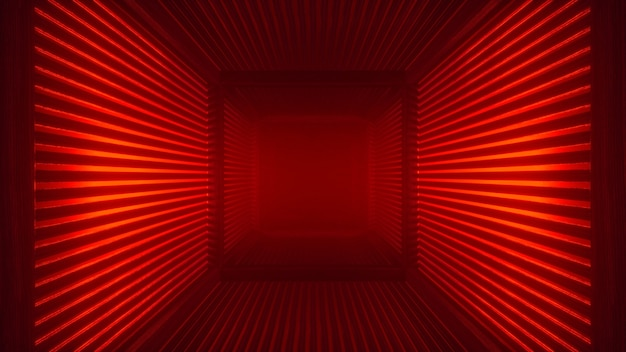 Abstract red futuristic neon tunnel background with haze corridor and volumetric light