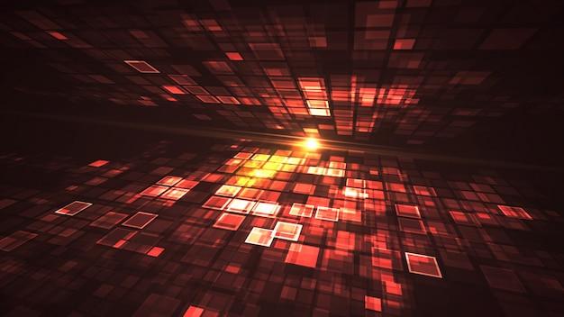 抽象的な赤い光点滅長方形グリッドの視点