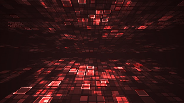 Abstract red light flashing rectangle grid perspective