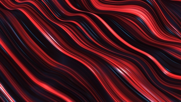 Abstract red neon wave line filed