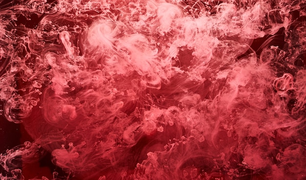 Abstract red ocean background, ruby paints in water, vibrant bright smoke scarlet wallpaper
