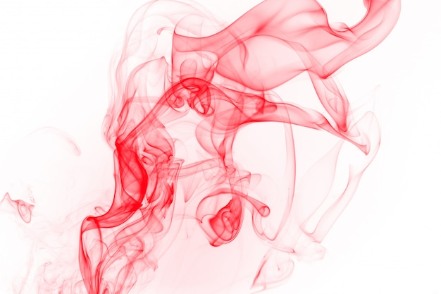 Abstract red smoke on white background, ink water