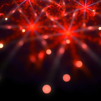 抽象的な赤い星形ボケ背景3dイラスト