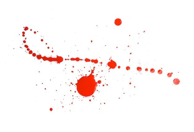 추상 붉은 수채화 물감 페인트 시작 배경. 붉은 수채화 스플래시 흰색 절연