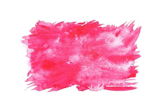 赤い水彩スプラッシュ、紙の上に手塗りを抽象化。