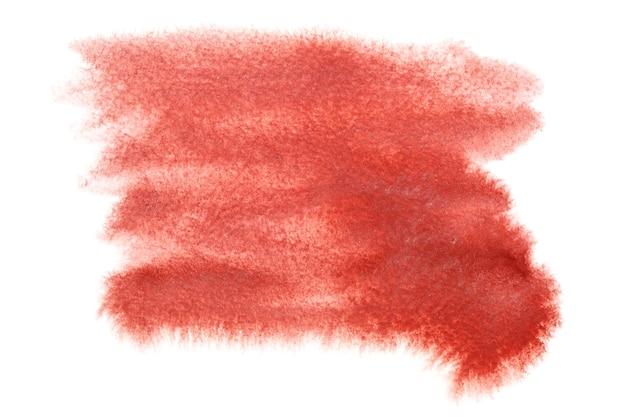 白い背景の上に分離された抽象的な赤い水彩画の染み-あなた自身のテキストのためのスペース