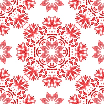 Abstract red and white hand drawn tile seamless ornamental watercolor paint pattern.