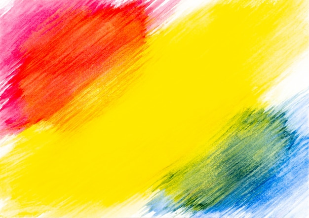 Abstract red yellow and blue watercolor painted on white paper background.