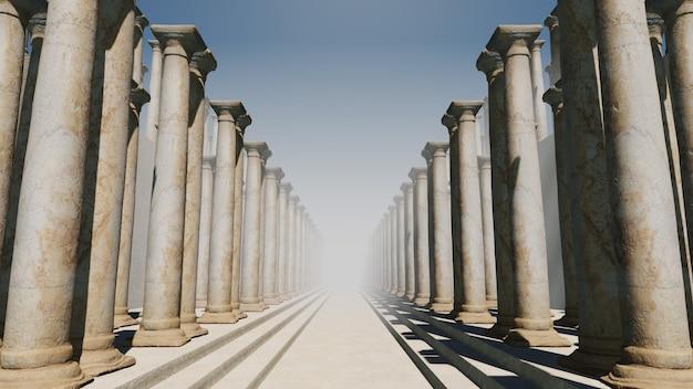 건축 및 건축 현장의 벽지에 대한 역사 배경의 추상 로마 칼럼 여행