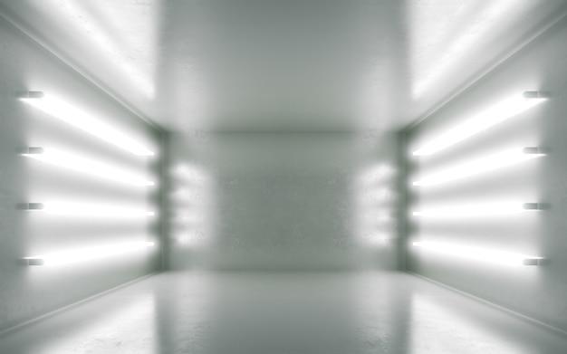 Абстрактный интерьер комнаты для backgrtound с белым неон