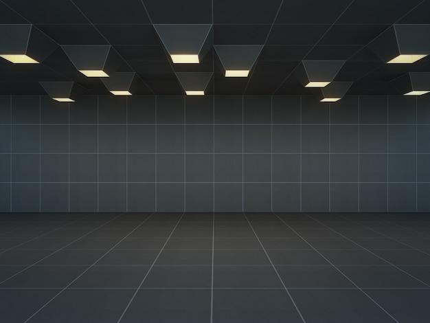 Абстрактная комната с черной стеной и полом, пустой интерьер - 3d-рендеринг