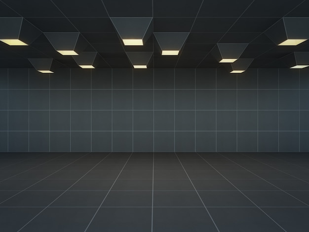 Abstract room with black wall and floor, empty interior background - 3d rendering