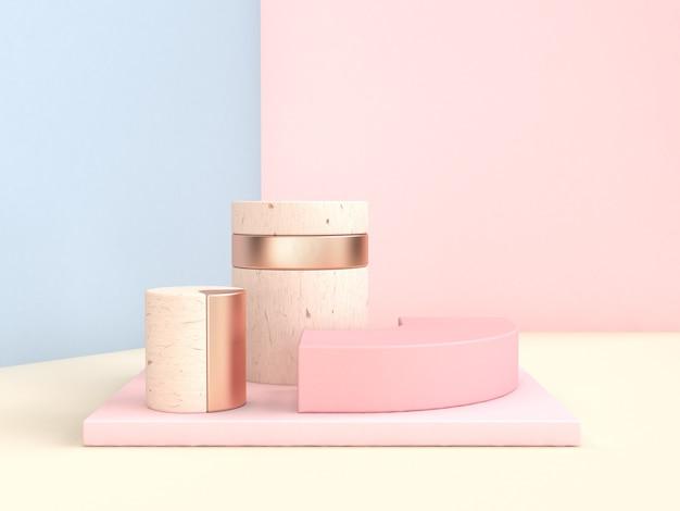 Abstract scene 3d rendering blue pink wall geometric shape set