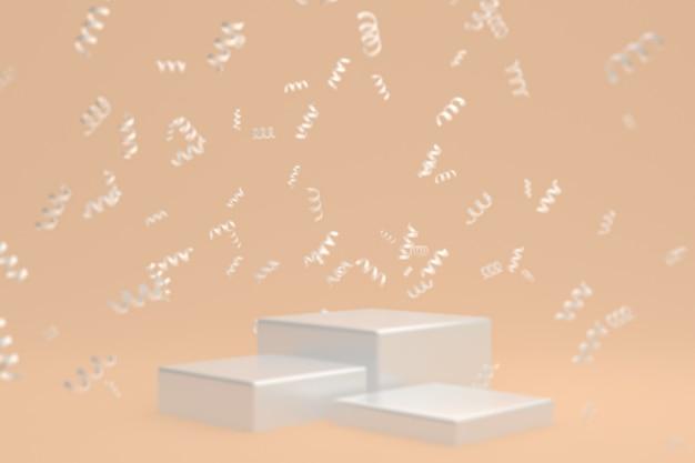 クリーム色の背景、紙吹雪、化粧品のプレゼンテーションのための紙吹雪に白い表彰台と抽象的なシーンの背景