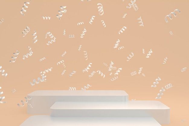 Абстрактный фон сцены с белым подиумом на кремовом фоне, конфетти и конфетти для презентации косметической продукции