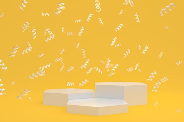 Абстрактный фон сцены с белым подиумом на желтом фоне, конфетти и конфетти для презентации косметической продукции