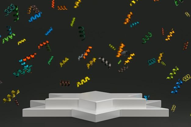 Абстрактная сцена черный фон 3d-рендеринг с белым подиумом, конфетти и разноцветными лентами для фестиваля