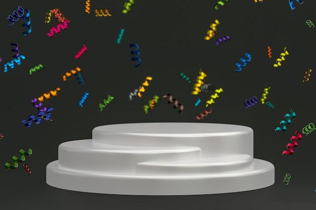 Абстрактная сцена черный фон 3d-рендеринг с белым подиумом, лентами конфетти для фестиваля