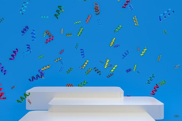 Абстрактная сцена синий фон 3d-рендеринг с белым подиумом, конфетти и разноцветными лентами для фестиваля