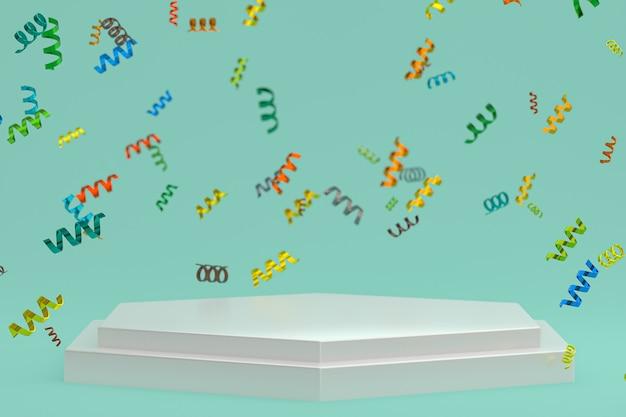 Абстрактная сцена geen фон 3d-рендеринга с белым подиумом, конфетти и разноцветными лентами для фестиваля