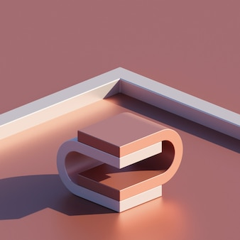 제품 프레젠테이션을 위한 형상 모양 연단 배경이 있는 추상 장면 최소 개념 광택 색상. 3d 렌더링