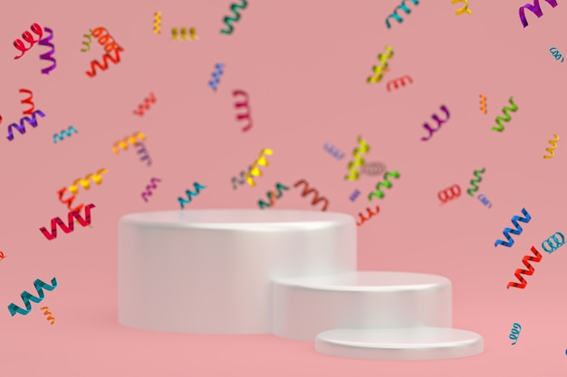 Абстрактная сцена розовый фон 3d-рендеринг с белым подиумом, конфетти и разноцветными лентами для фестиваля