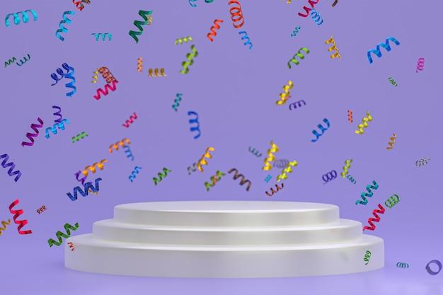 Абстрактная сцена фиолетовый фон 3d-рендеринг с белым подиумом, конфетти и разноцветными лентами для фестиваля