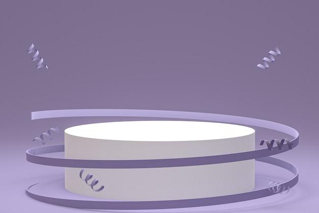Абстрактная сцена фиолетовый фон с цилиндрическим подиумом, конфетти и лентами
